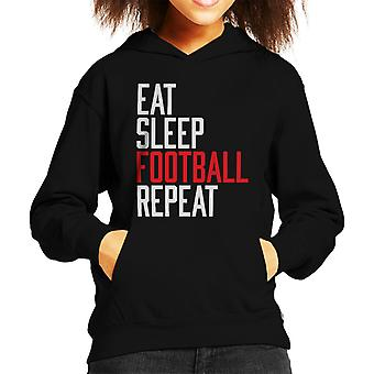 Eat Sleep Football Repeat Kid's Hooded Sweatshirt