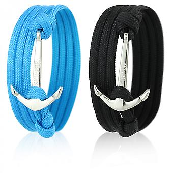 Skipper anchor bracelet set for him & her 2 piece with silver anchor 7064