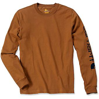 Carhartt Mens Long Sleeve Rib Knit Crew Neck Signature Logo T-Shirt