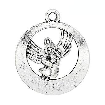 Packet 5 x Antique Silver Tibetan 22mm Angel Charm/Pendant ZX13175