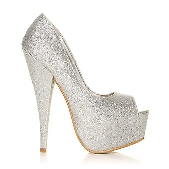 PEEPTOE Silver Glitter Stiletto Very High Heel Platform Peep Toe Shoes