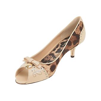 Dolce&Gabbana open toe pumps in beige leather and fabric