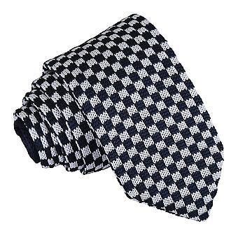 Wit en Navy Check gebreide slanke Tie