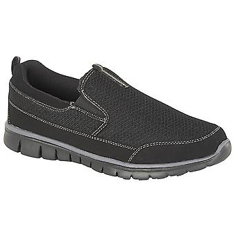 Mens Slip On Lightweight Gym Running Memory Foam Trainers Shoes