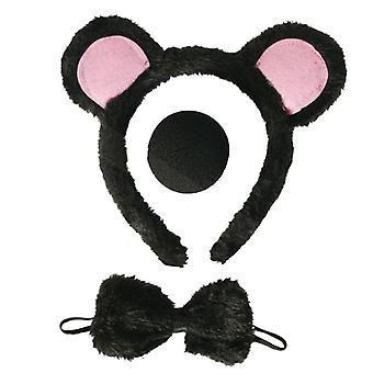 Maus-Set 3-tlg Haarrief mit Ohren Nase Schleife tierkostüm Accessoire Karneval