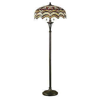 Intérieurs 1900 Vesta Tiffany lampadaire avec abat-jour en verre Design arqué