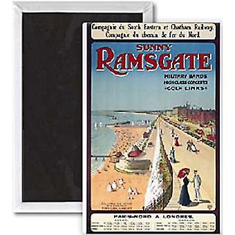 Sunny Ramsgate (Old Rail Ad.) Steel Fridge Magnet (Se Portrait)