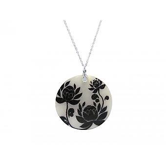 Gemshine Halskette Anhänger Medaillon Perlmutt ROSES Silber Schwarz Weiß