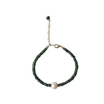 Smaragd armbånd med Pearl Emerald perle armbånd forgyldt
