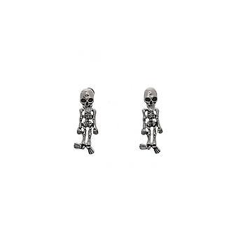 Attitude Clothing Skull Studs With Dangling Skeleton Earrings