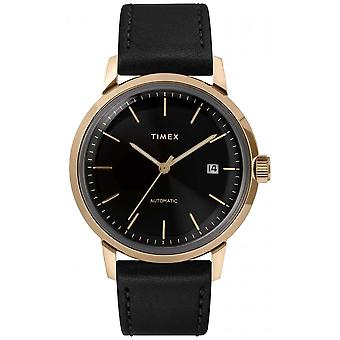Timex Mens Automatic Black Leather Strap Black Dial TW2T22800 Watch