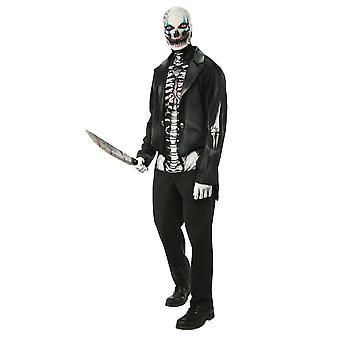 Carnaval de hombre esqueleto Halloween horror traje de los hombres esquelético de demonio de esqueleto cráneo huesos muertos vivientes hombre