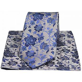David Van Hagen florales con motivos de corbata y pañuelo juego - plata