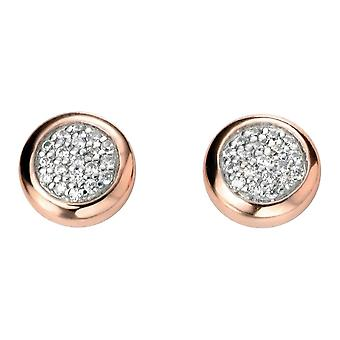 Elements Silver Cubic Zirconia Cabochon Stud Earrings - Silver/Rose Gold/Clear