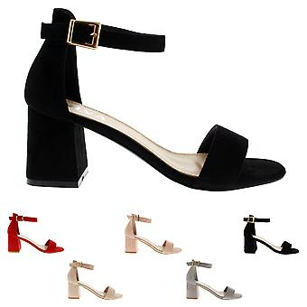 Womens Sandal Cut Out Block Heel Open Toe Barely There Ankle Strap Heels UK 3-10