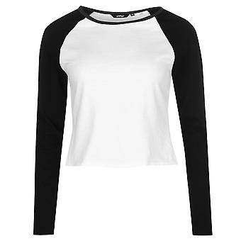 Golddigga Womens Crop Long Sleeve T Shirt Tee Top Crew Neck Cotton Block Colour