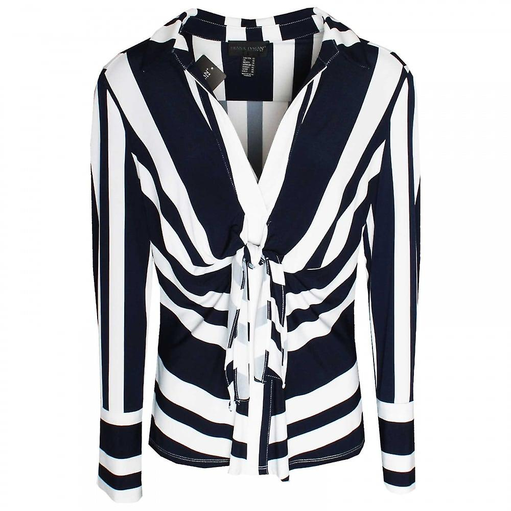 Frank Lyhomme Bold Stripe Knotted Long Sleeve Top