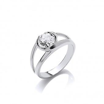 Cavendish French Silver Swirl and CZ Solitaire Ring