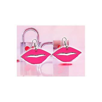 Joyas y coronas besan pendientes rosa brillante