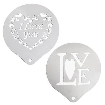 2PC Set Love Coffee Stencil Kit Romantic Design - By TRIXES