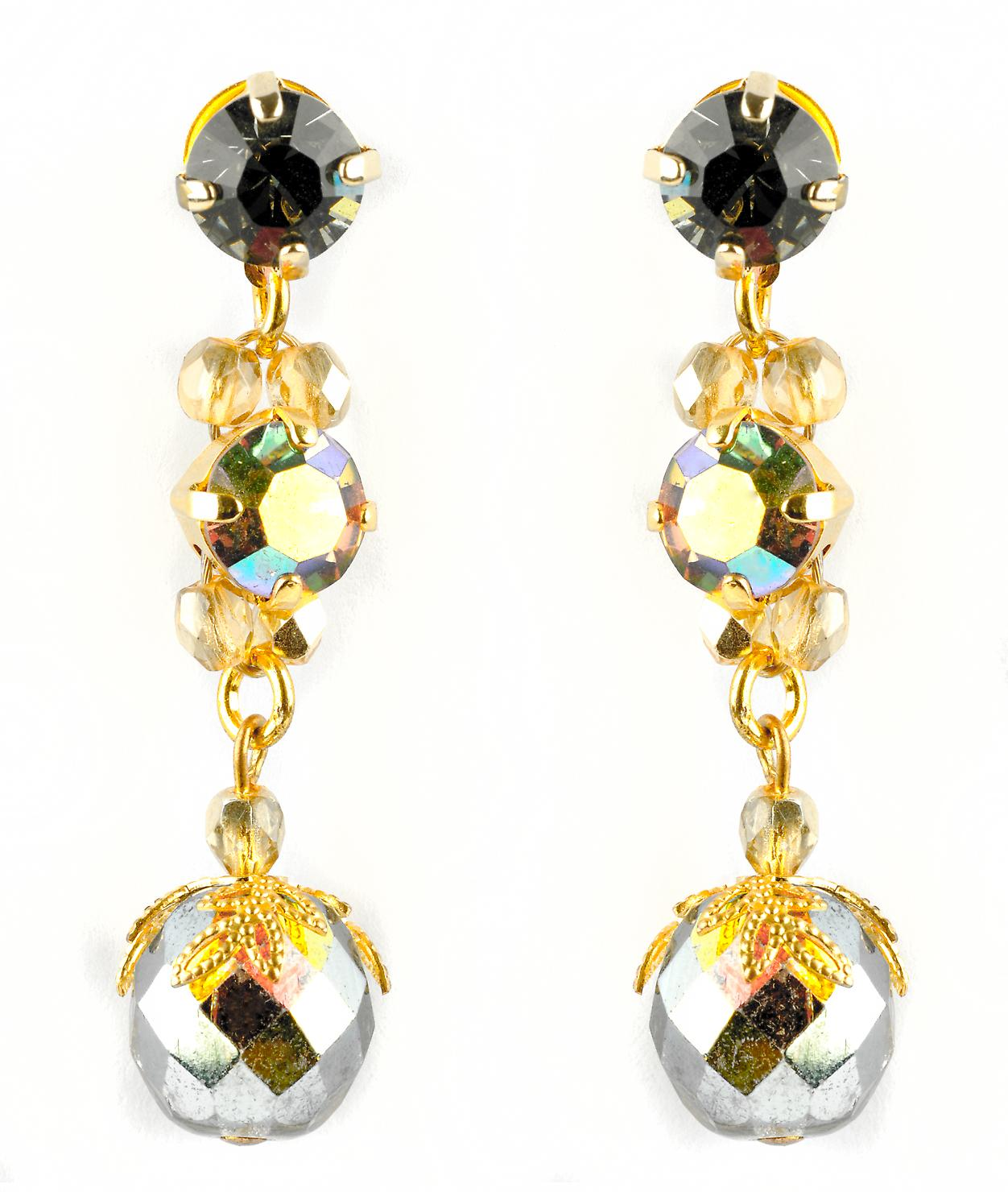 Waooh - jewelry - WJ0684 - earrings with Rhinestone Swarovski Silver Gold and black - frame color gold