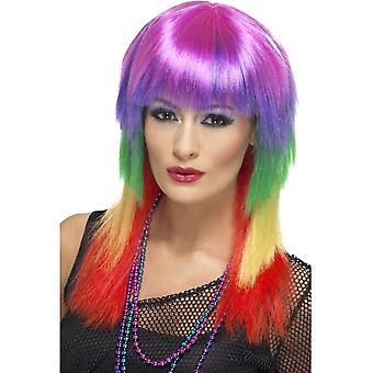 Arco iris largo color recta peluca, peluca de rockero arco iris, con flecos