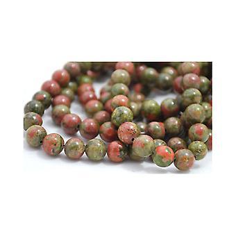 Packet 12 x Green/Orange Unakite 6mm Plain Round Beads VP1525