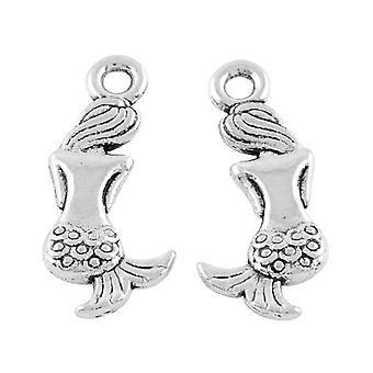 Packet 10 x Antique Silver Tibetan 21mm Mermaid Charm/Pendant ZX02220