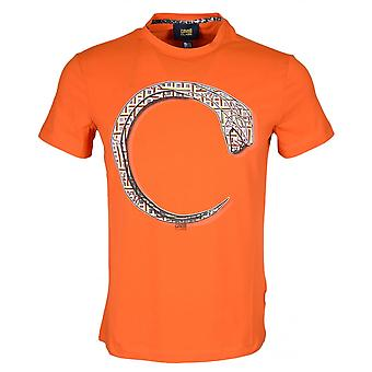 Cavalli Class B3jrb740 Jersey Stretch Snake Print Orange T-shirt