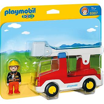 Playmobil 6967 1.2.3 Ladder Unit Fire Truck with Fireman Toy
