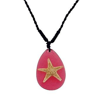 The Olivia Collection Sea Life Necklace with REAL Starfish Set In Pink Resin