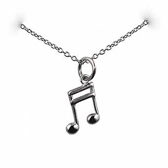 Silver 11x7mm Semi Quaver musical note Pendant with a rolo Chain 24 inches