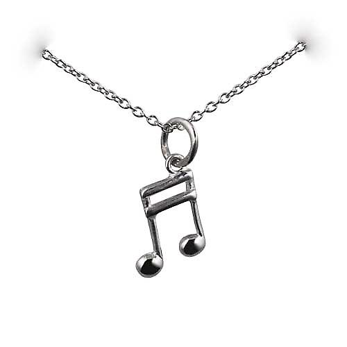 Silver 11x7mm Semi Quaver musical note Pendant with a rolo Chain 16 inches Only Suitable for Children