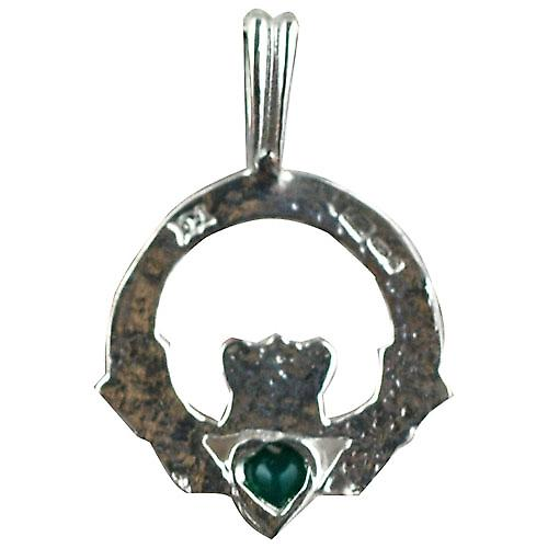 Silver 20x15mm diamond cut Claddagh set with Green Agate Pendant