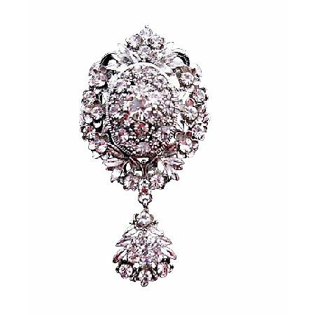 Sparkling Simulated Diamond with Cubic Zircon Dangling Brooch
