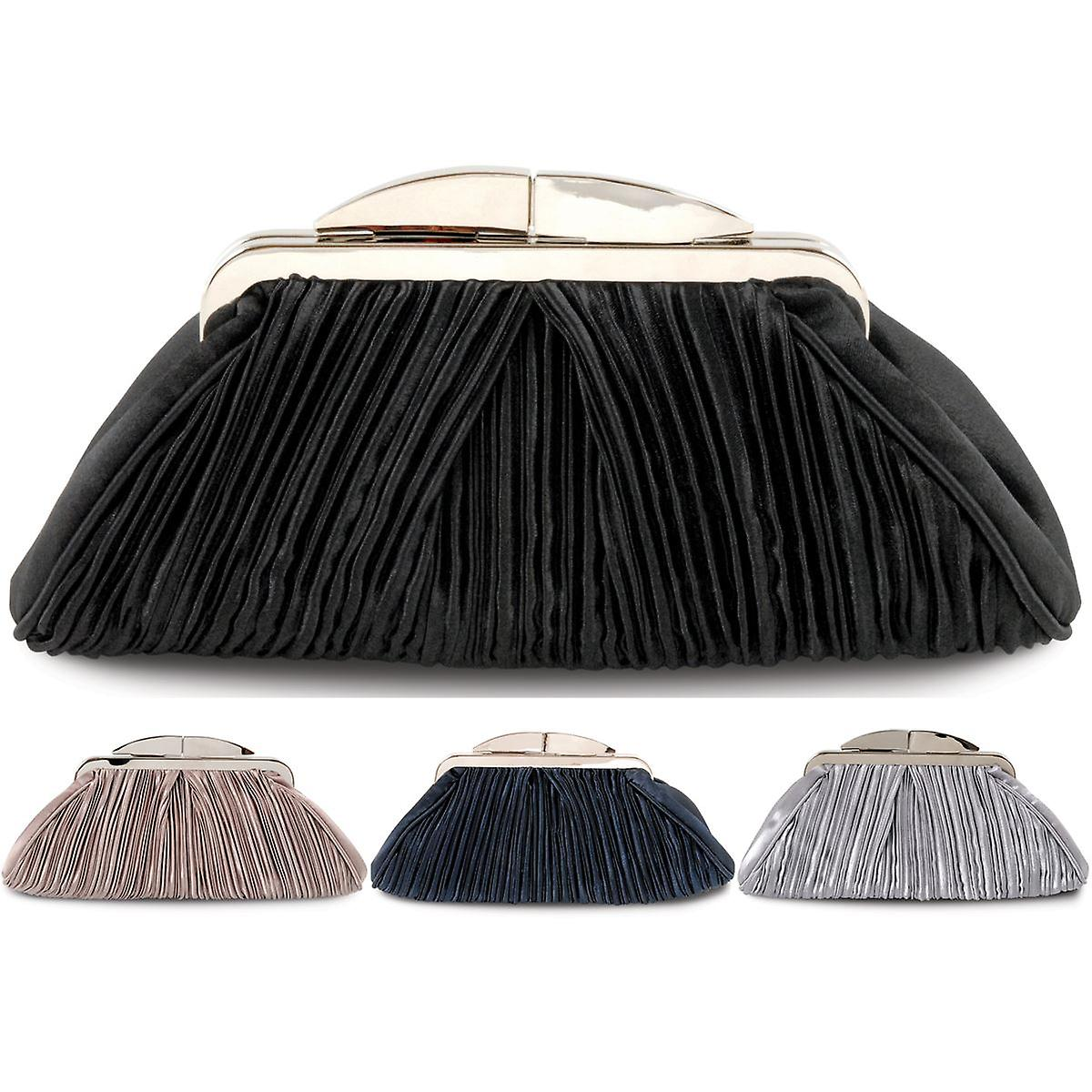 Ladies Ruffled Effect Diamante Clasp Accent Peep Toe Women's Clutch Purse Bag