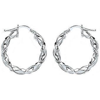 Bella 15mm Twisted Hoop Earrings - Silver