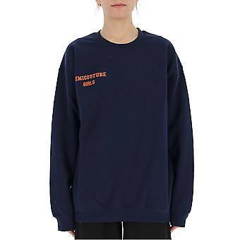 Semi-couture Simona Blue Cotton Sweatshirt