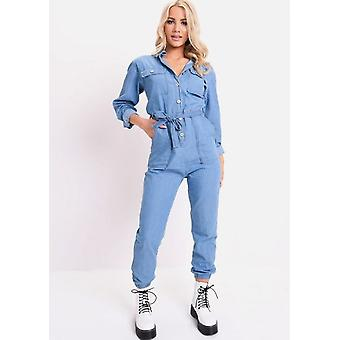Jeans Krawatte Taille Langarm-Overall blau