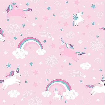 Pink Unicorn Wallpaper Girls Kids Girly Rainbow Fairytale Stars Clouds Ugepa