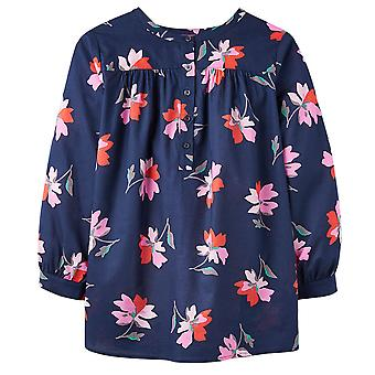 Joules Emily Notch Neck Top With Gathered Sleeves Navy Floral