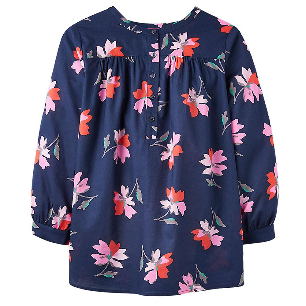 Joules Emily Notch Neck Top With Gatherouge Sleeves Navy Floral