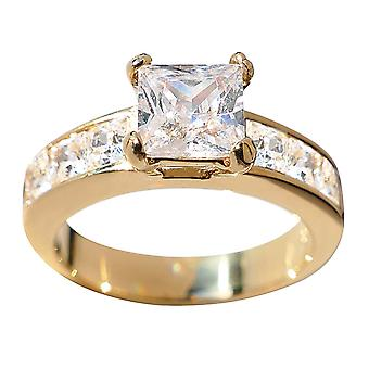 Ah! Jewellery Gold Electroplated Stainless Steel Princess Cut Ring