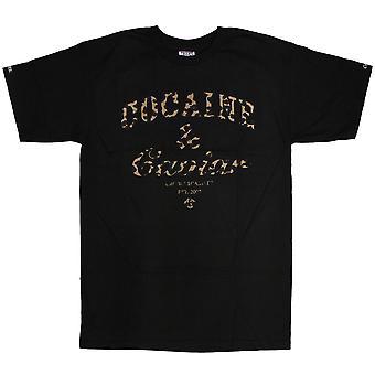 Oplichters & kastelen cocaïne & Caviar Leopard T-shirt zwart