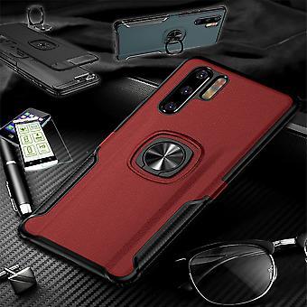 For Samsung Galaxy A40 5,9 tommer hybrid magnet metall ring fall rød + hard glass pose ermet deksel