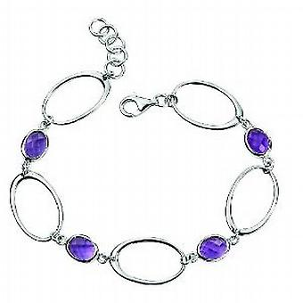 Elements Sterling Silver Amethyst Open Link Oval Bracelet