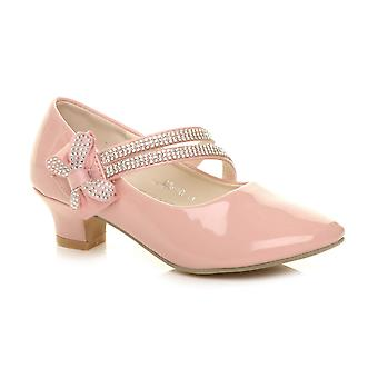 Ajvani girls low heel strap bow bridesmaid party formal shoes