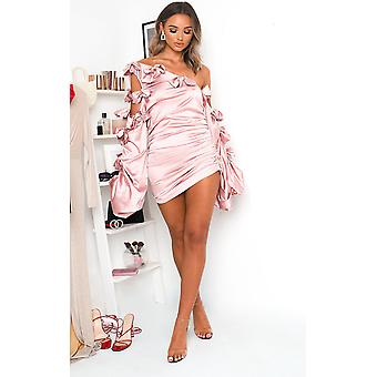 IKRUSH Womens Winnie Off Shoulder Asymmetric Mini Dress