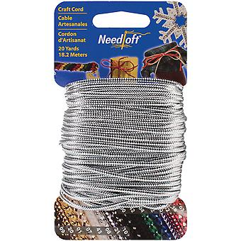 Needloft Novelty Craft Cord 20 Yards Solid Silver 550 55021
