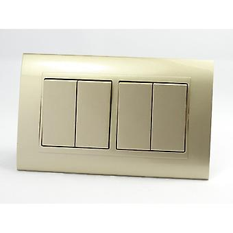 I LumoS AS Luxury Gold Plastic Arc Double Frame 4 Gang 2 Way Rocker Light Switches
